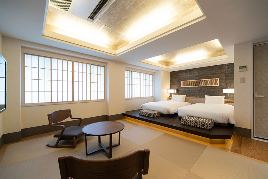 """""""Japanese-Western style room"""" that put space of the sum that laid Shin-Yokohama Grace hotel tatami mat and Western-style room full of sense of quality together"""