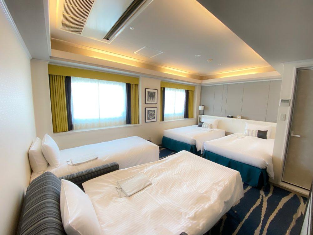 In Shin-Yokohama Grace hotel deluxe twin room for 4 persons